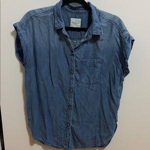 American Eagle denim button up shirt